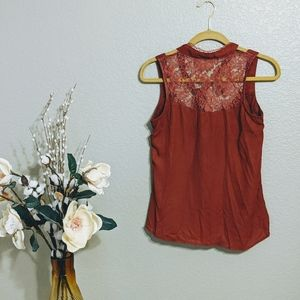 Charlotte Russe Blouse Rust Red Lace Details Sz S